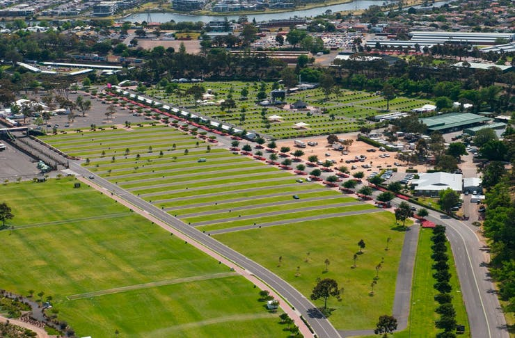 An aerial shot of Flemington Racecourse showing the parking lanes where The Drive-In will be held.