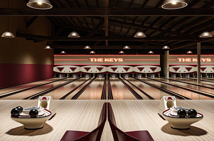 A render of a vintage bowling alley.