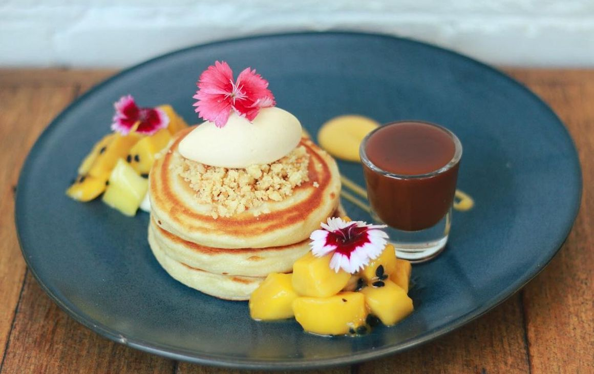 The Little Banksia pancakes with fresh fruit and salted caramel