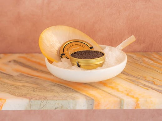 Caviar served on the onyx benches at The Mayflower, a cafe in Sydney's Darlinghurst.