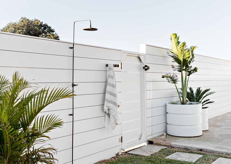 An outdoor shower at The Shore Gerringong