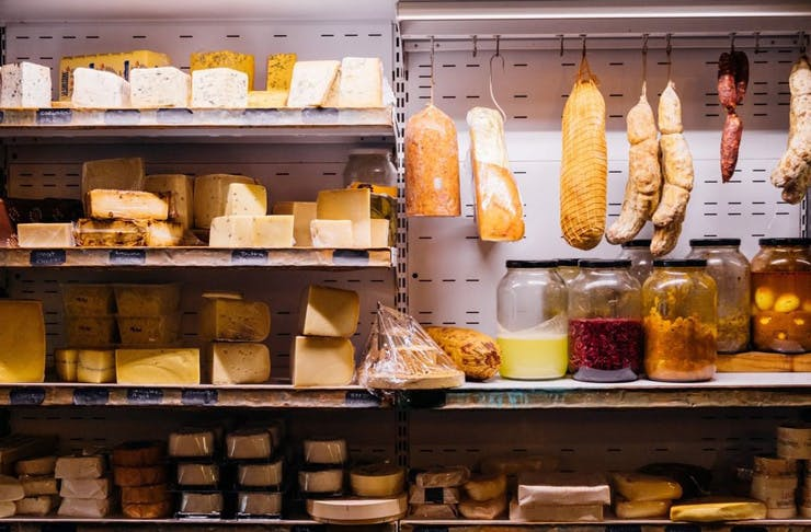 The wall of cheese at The Stinking Bishops in Sydney.