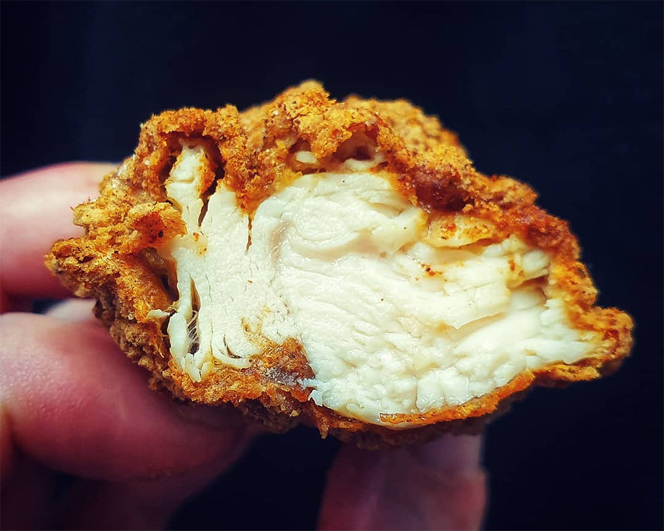 The cross section of a delicious piece of chicken.