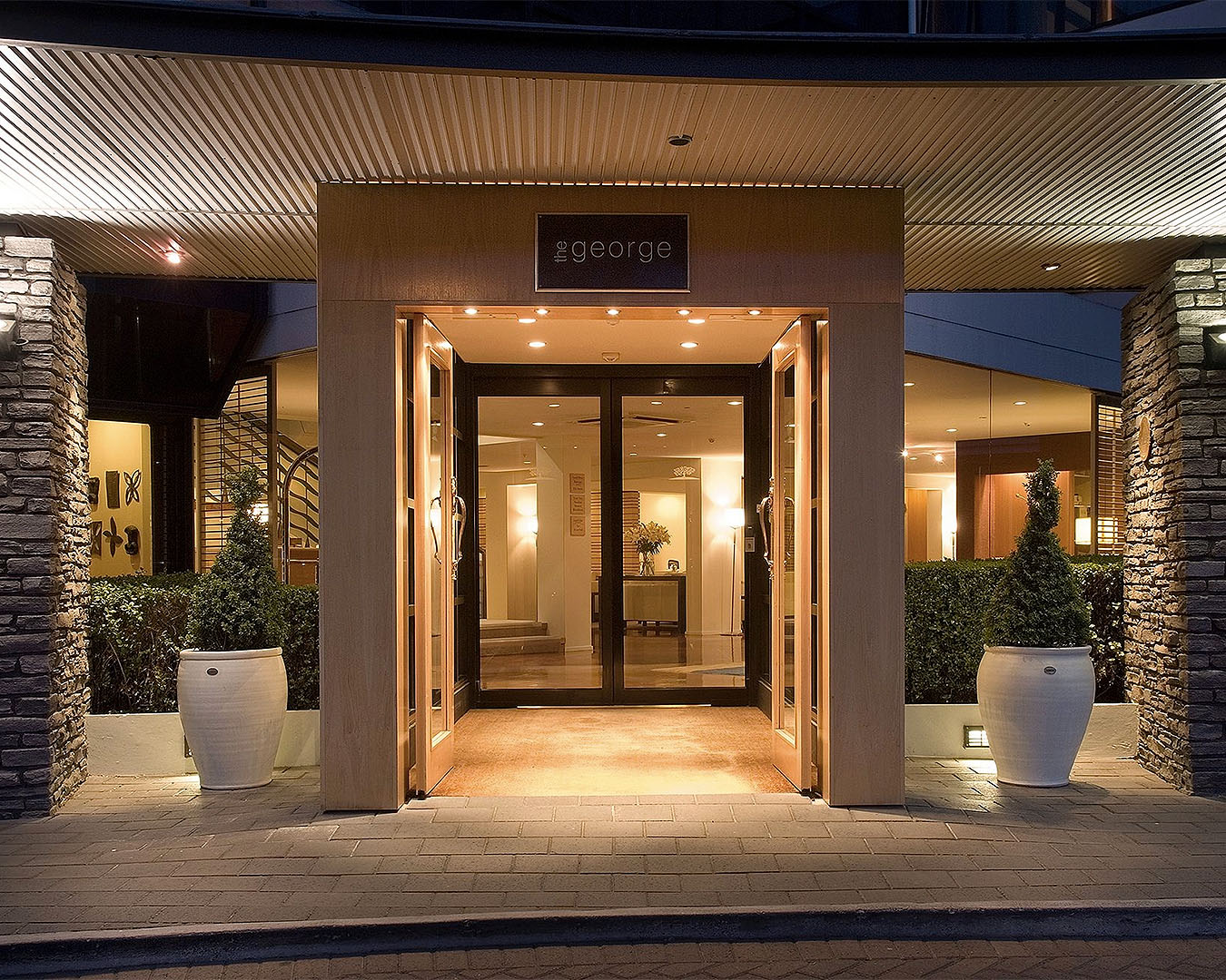 The entrance to The George Hotel in Christchurch.
