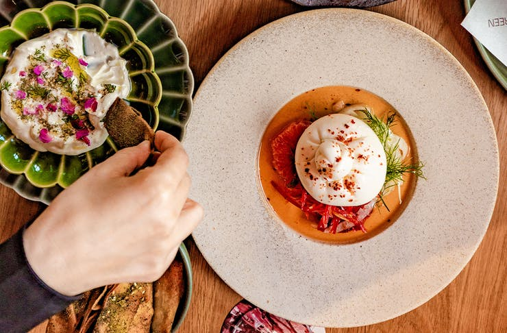 a burrata and another middle eastern dish