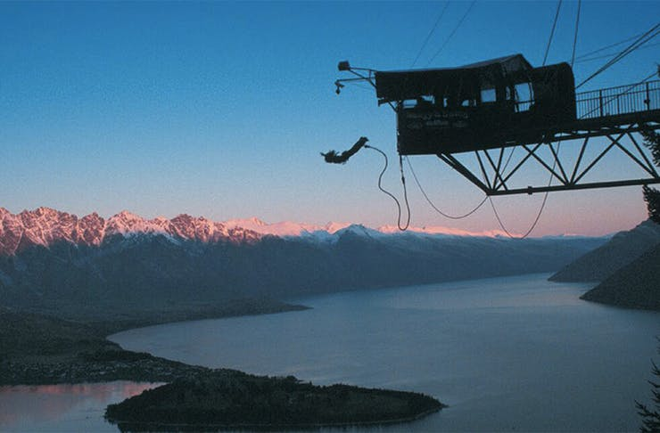 A daredevil leaps off the ledge in Queenstown.