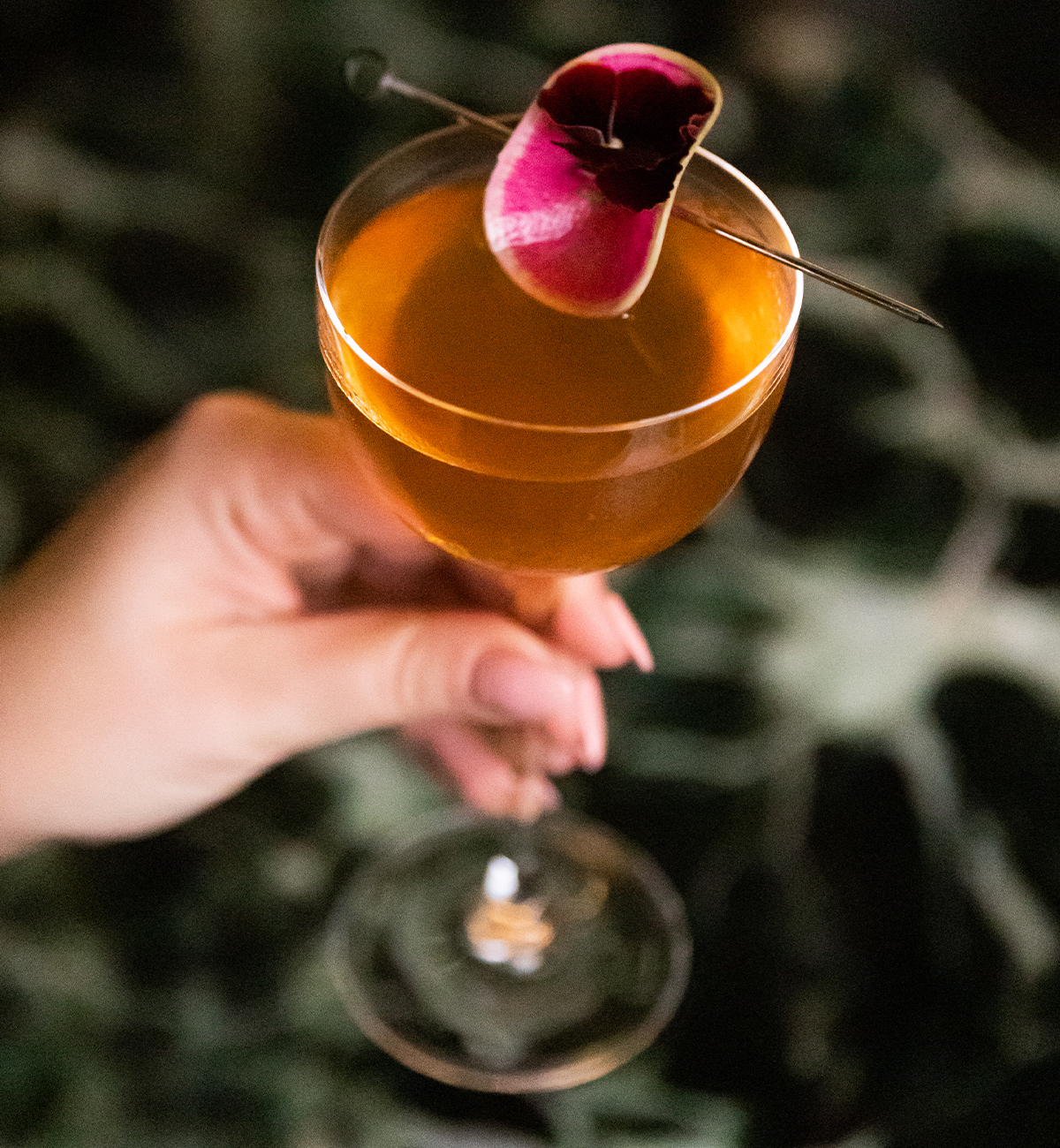a hand holding a cocktail