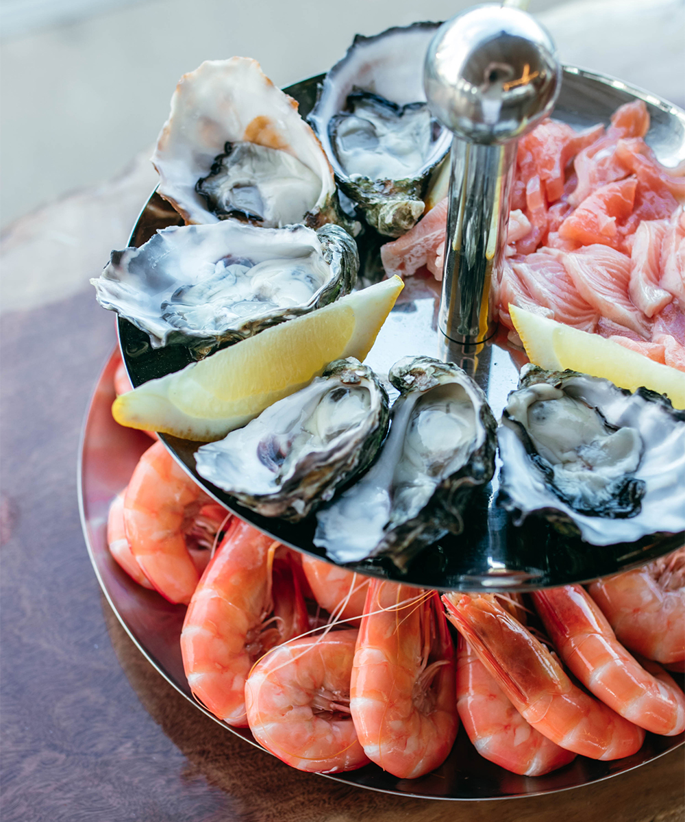A double story platter of seafood