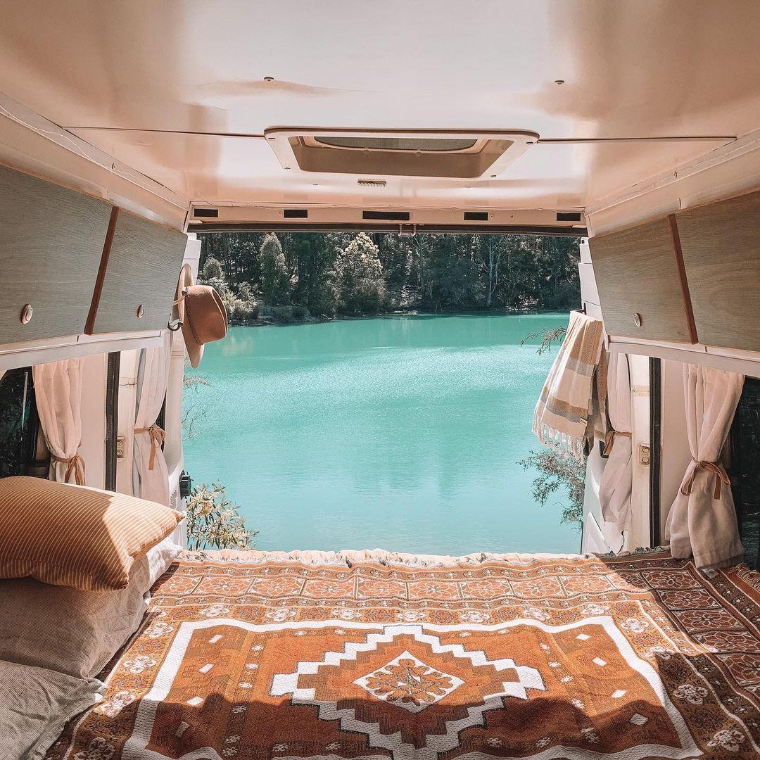 View of Black Diamond Lake in Ferguson Valley from inside a camper van