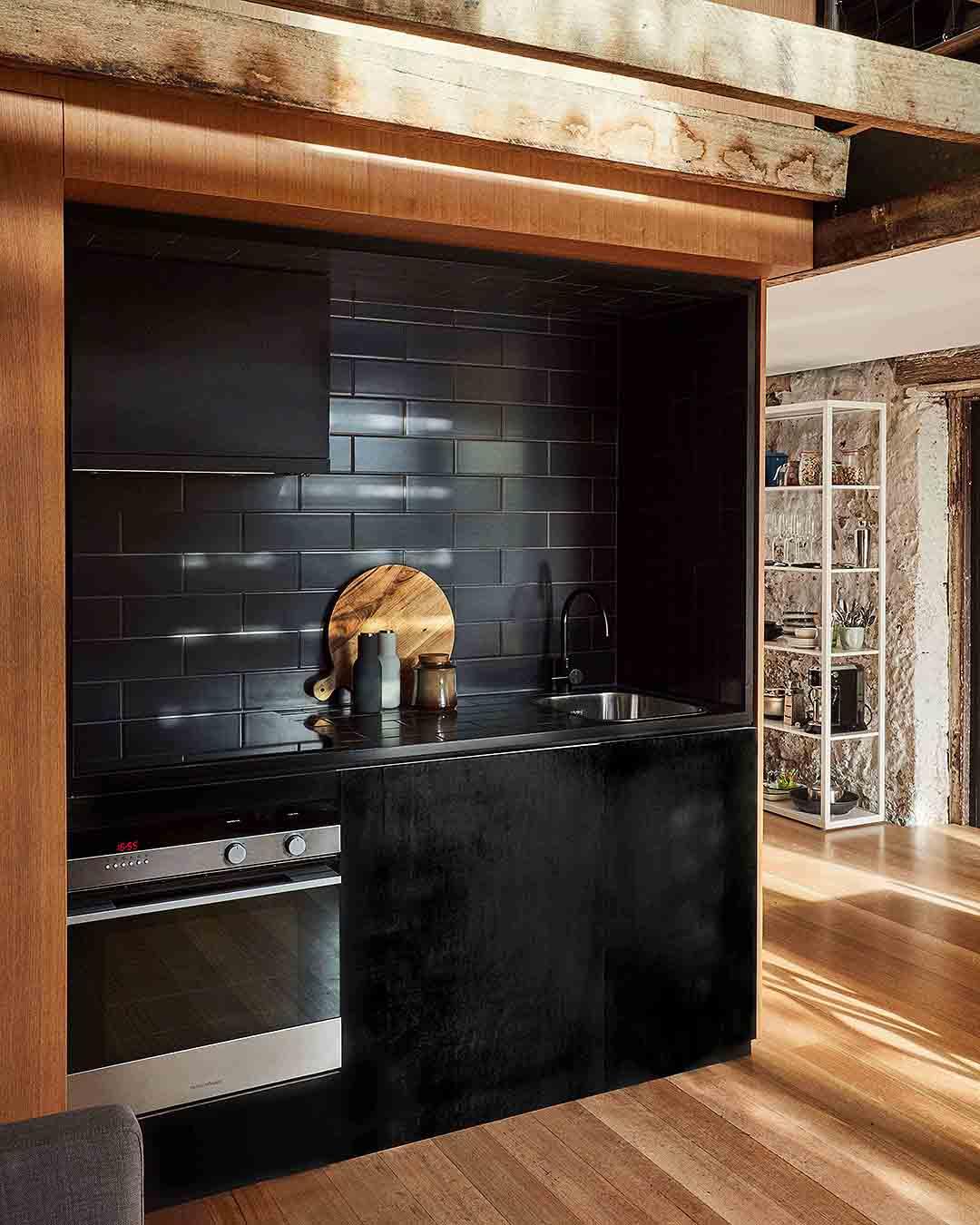The Barn's kitchen looks sleek.