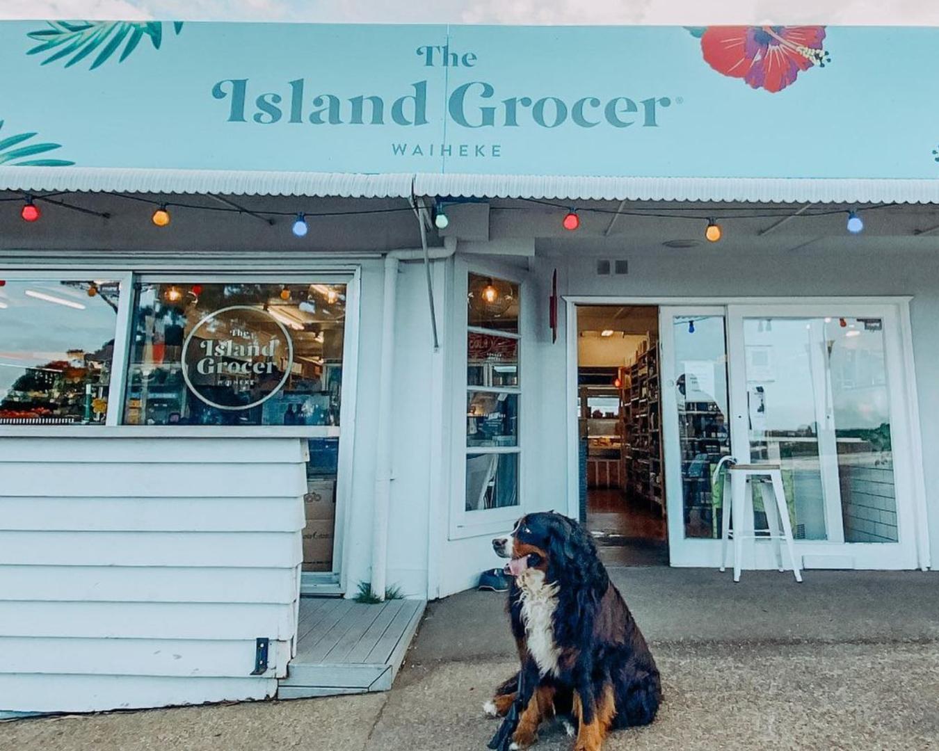 Dog sitting outside The Island Grocer on Waiheke Island