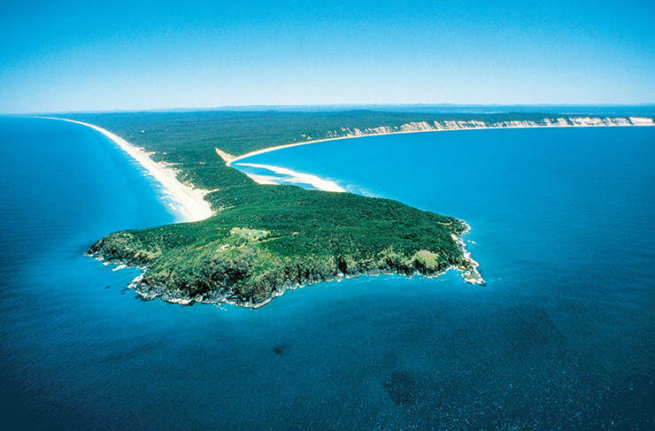 An aerial view of Double Island Point in Queensland.