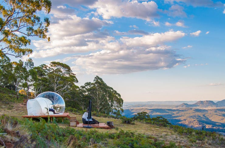 One of the Bubble Tent accomodations in Mudgee, overlooking national park.