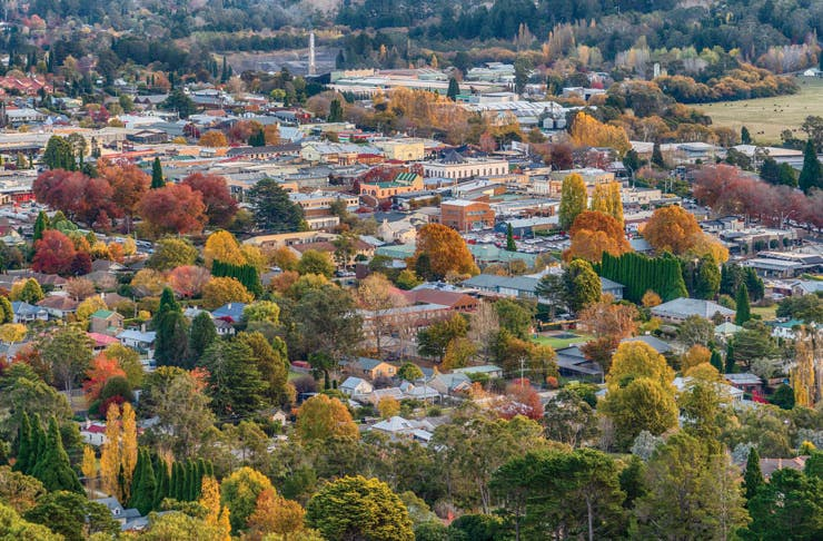 A view of roofs and trees in the township of Bowral in the Southern Highlands.