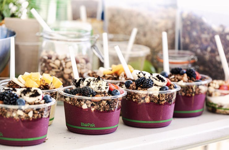 acai bowls on a table at the markets, on this weekend in Perth
