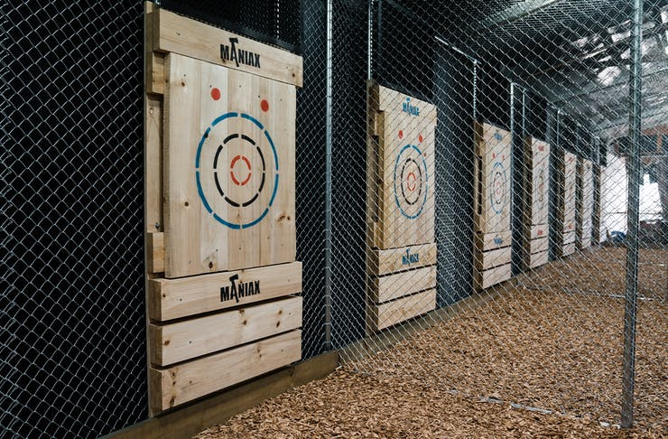 a row of targets on a wall
