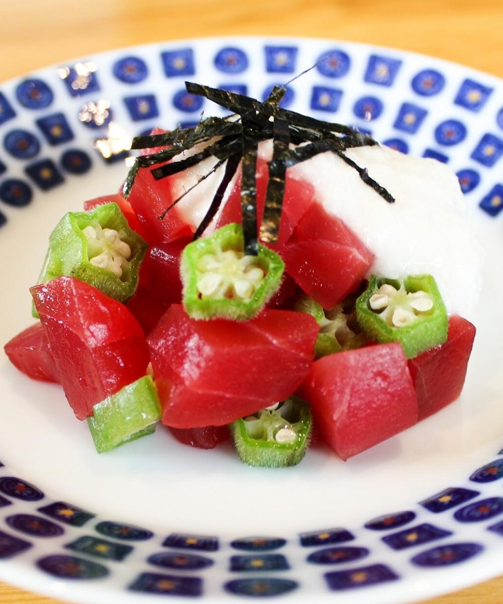 Sashimi dish of tuna, okra and yam from Tomi