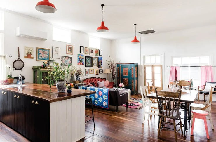 cottage interior filled with antiques