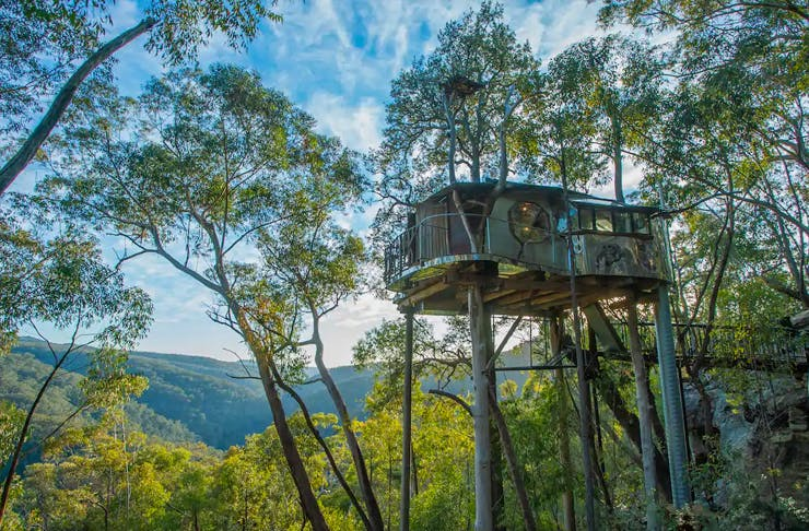 A treehouse on stilts looking over the Blue Mountains.