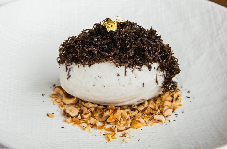 a bowl of truffle gelato topped with truffle shavings