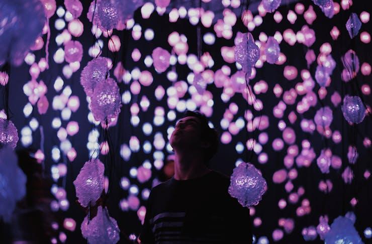 A man looks up at a purple lit light installation.