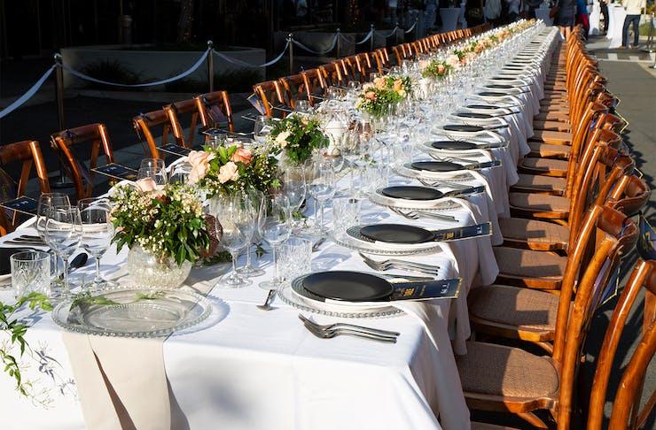 a long dinner table