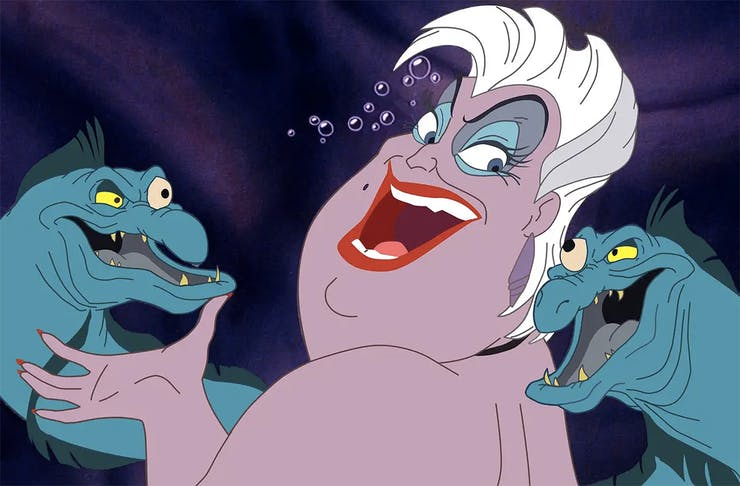 Ursula the witch surrounded by her odious eel lackeys.