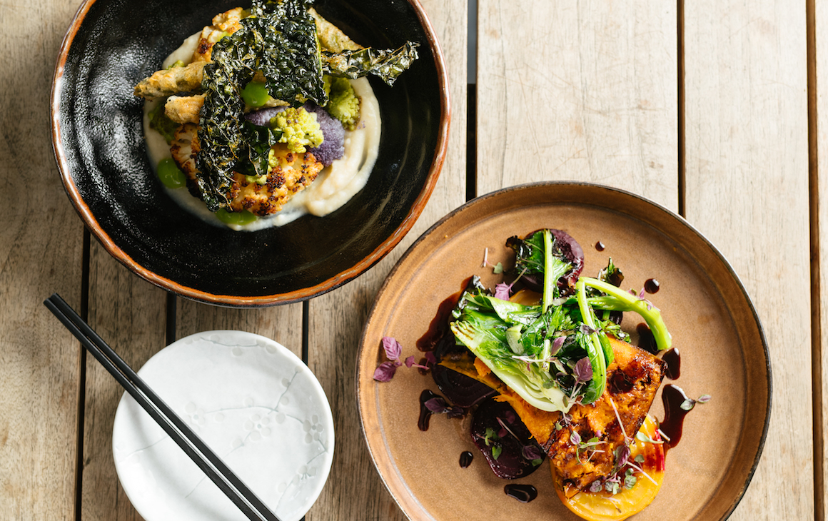 two vegan dishes on a table