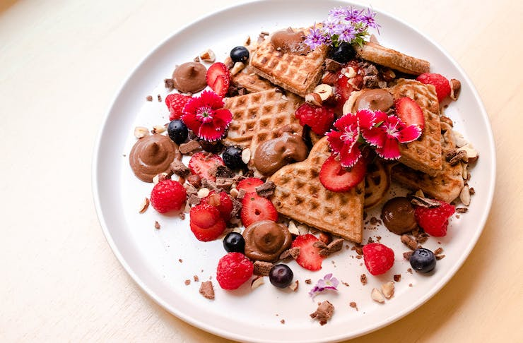 a plate of vegan waffles