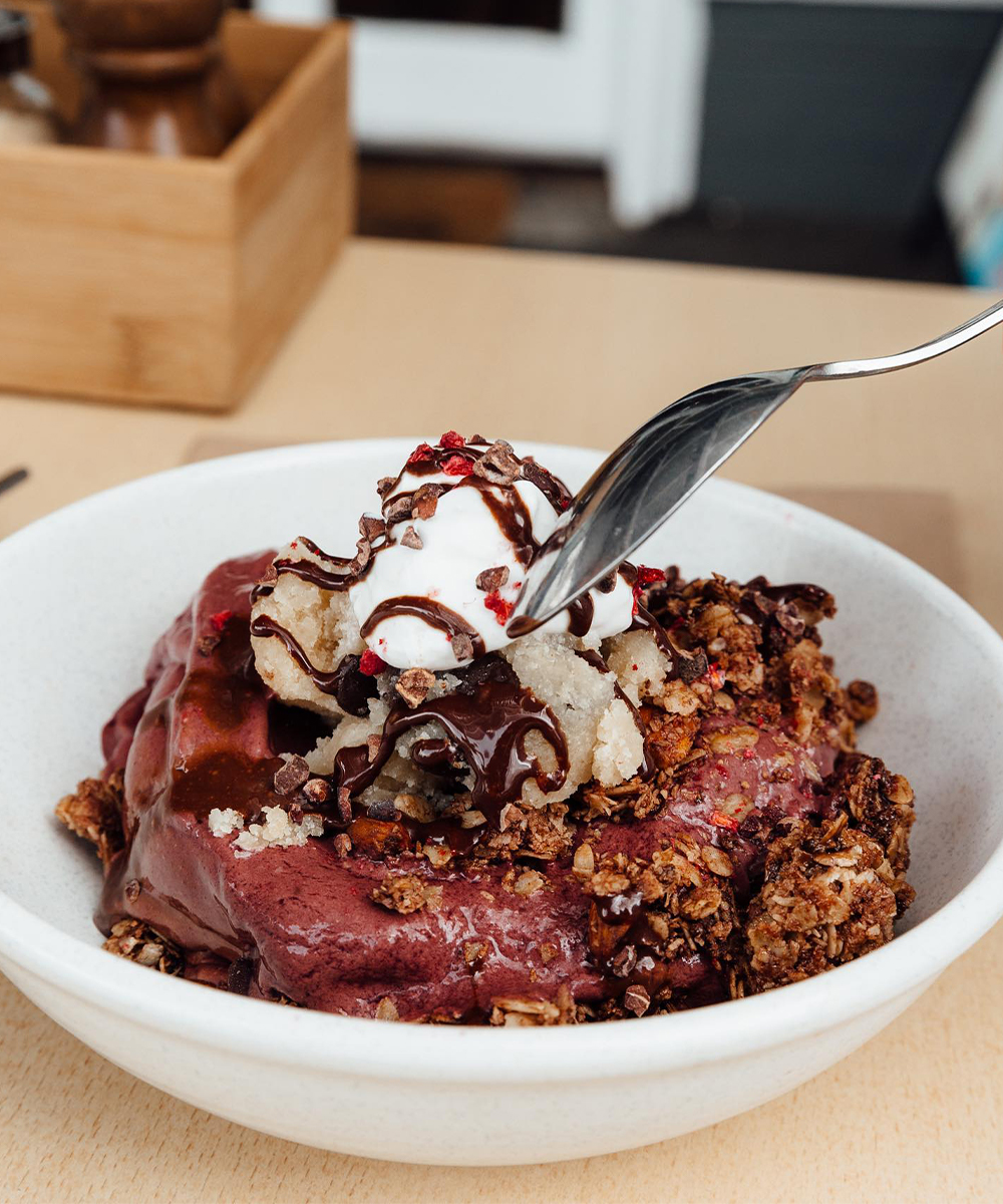 an acai bowl with vegan cookie dough