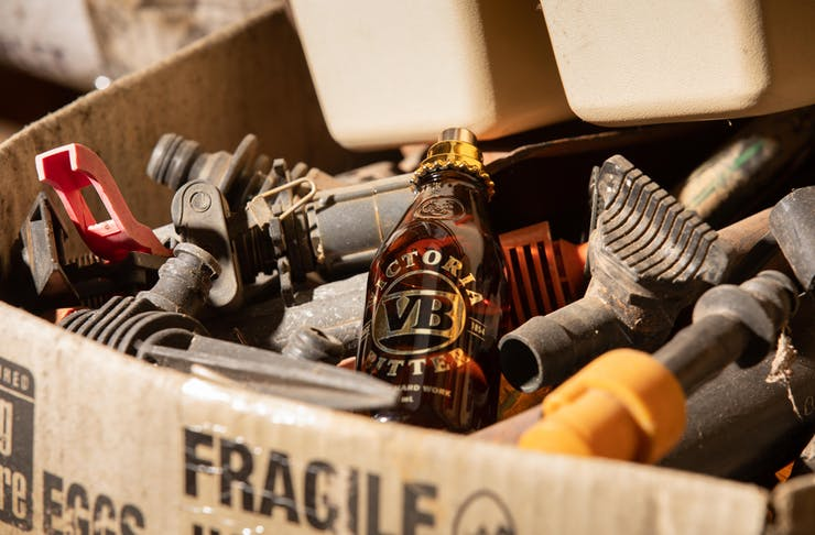 VB Thirst in a box with car parts.