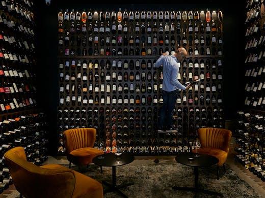 The wine wall at Vini Divini, Sydney.