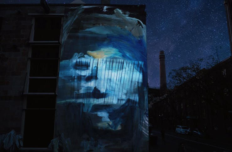 The Point of View mural installation created for Vivid Sydney 2021.