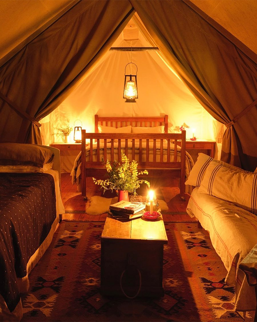 A cosy interior of the luxury tents at Wainamu.