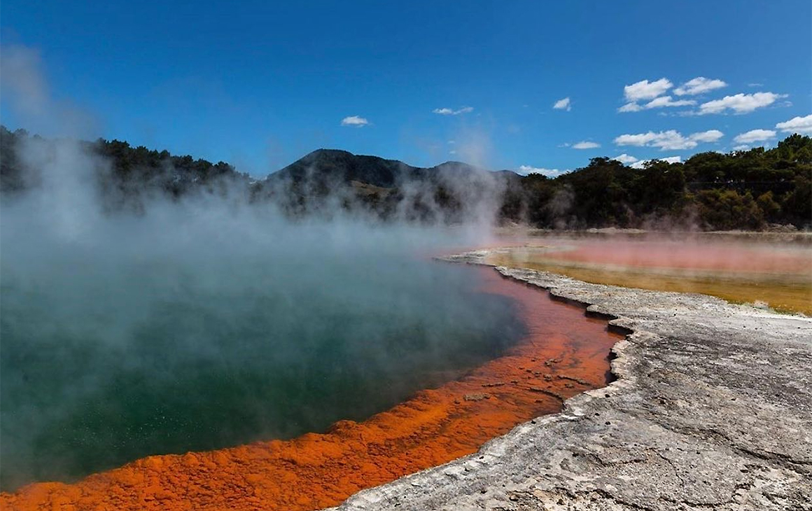 A view of the gorgeous hot pools at Wai-O-Tapu, one of NZ's finest hot pools.