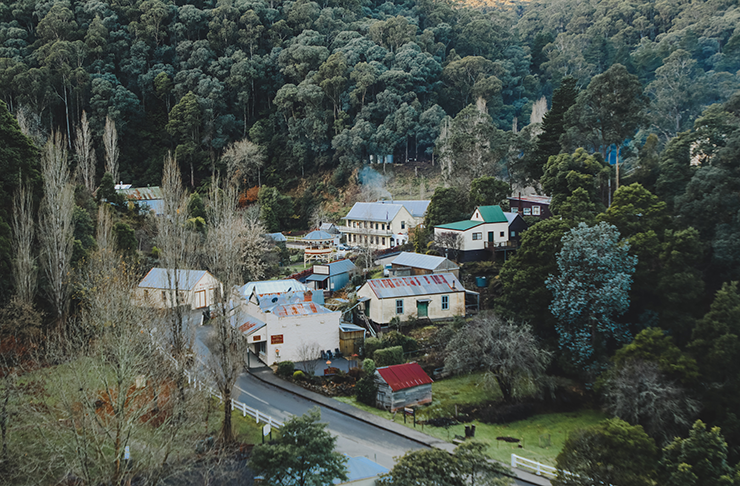 The empty town of Walhalla in Victoria, nestled in a mountainside forest.