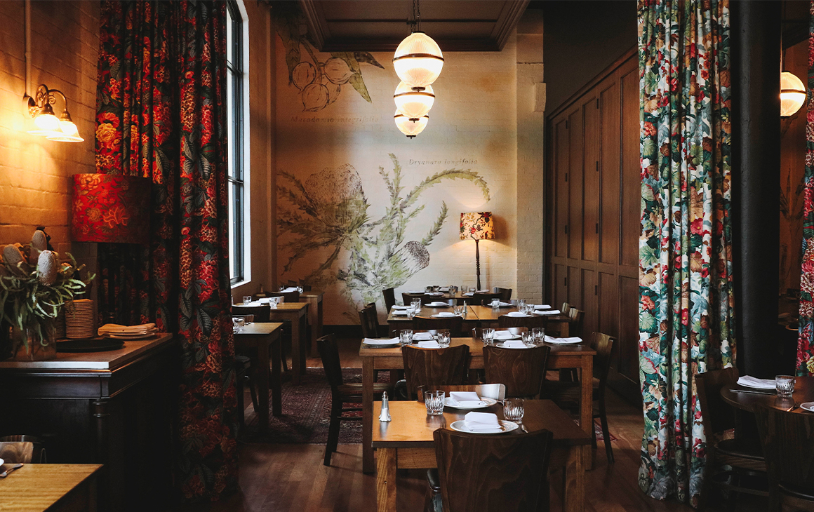 a small part of Walter's restaurant, with a floral curtain drawn aside