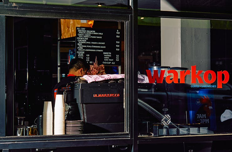 A coffee window with the logo
