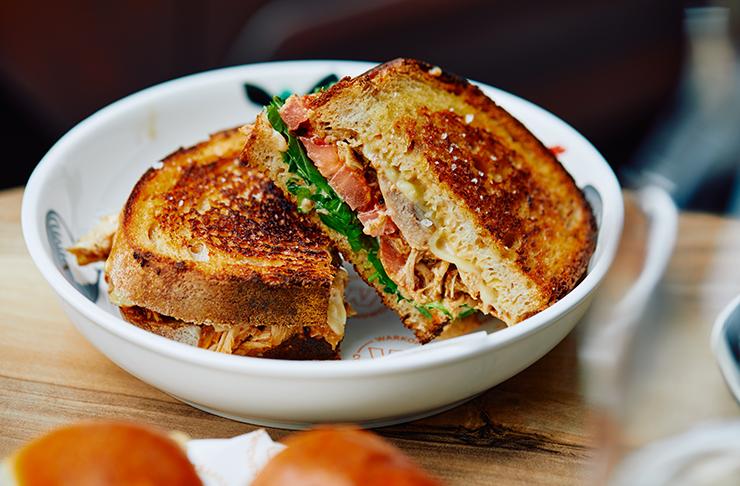 A stacked chicken sandwich.