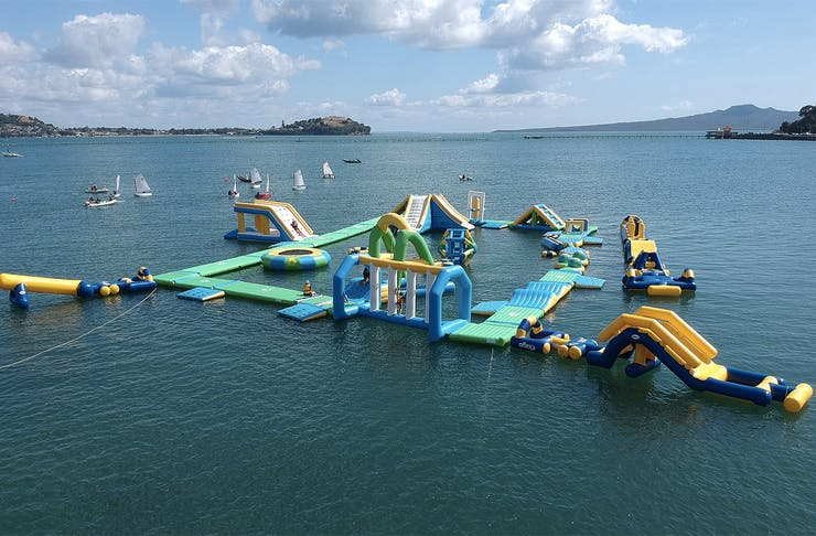 A massive water inflatable in the Waitemata harbour.