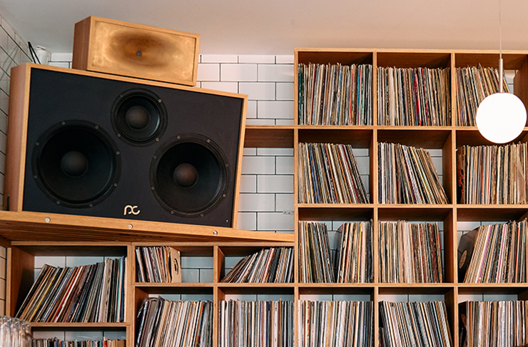 A large speaker set next to a wall of vinyl records.