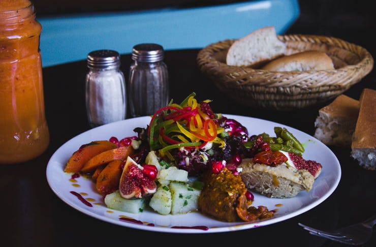 A plate of vibrantly coloured Syrian food.