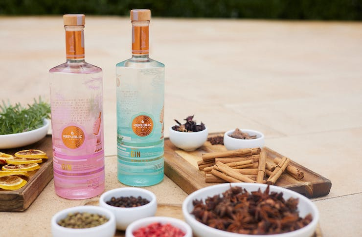 Republic Of Fremantle's spirits on a table with botanicals