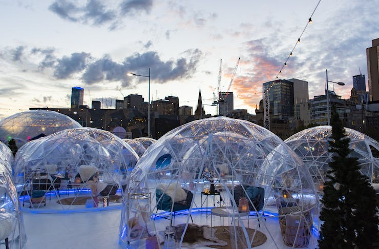 the private igloos at Winter Village, one of the best events on this month in Perth