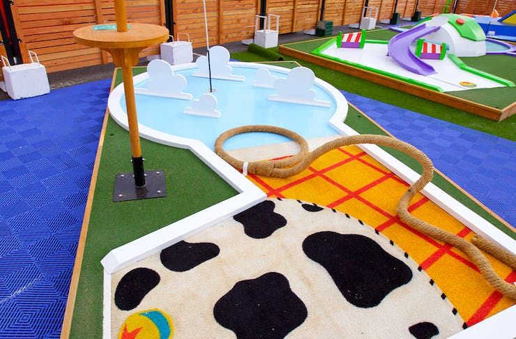 a toy story themed putt putt hole
