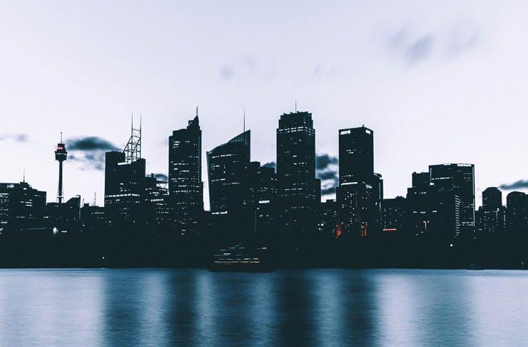 The Sydney city skyline at dusk.