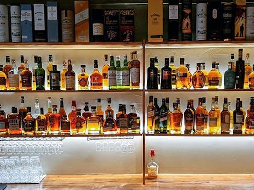 The bar at Mudgeeraba's whiskey lounge.
