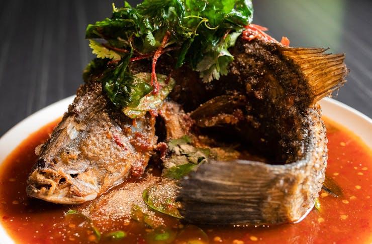 Whole Crispy Fish dish from Spirit House on the Sunshine Coast
