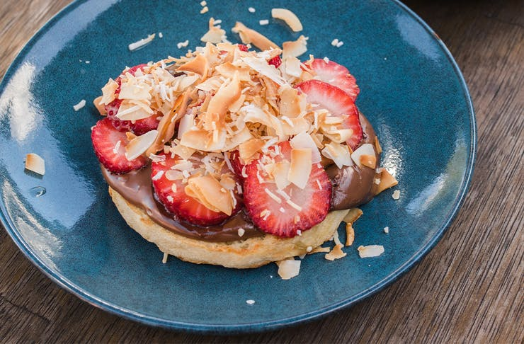 nutella and strawberry on a crumpet