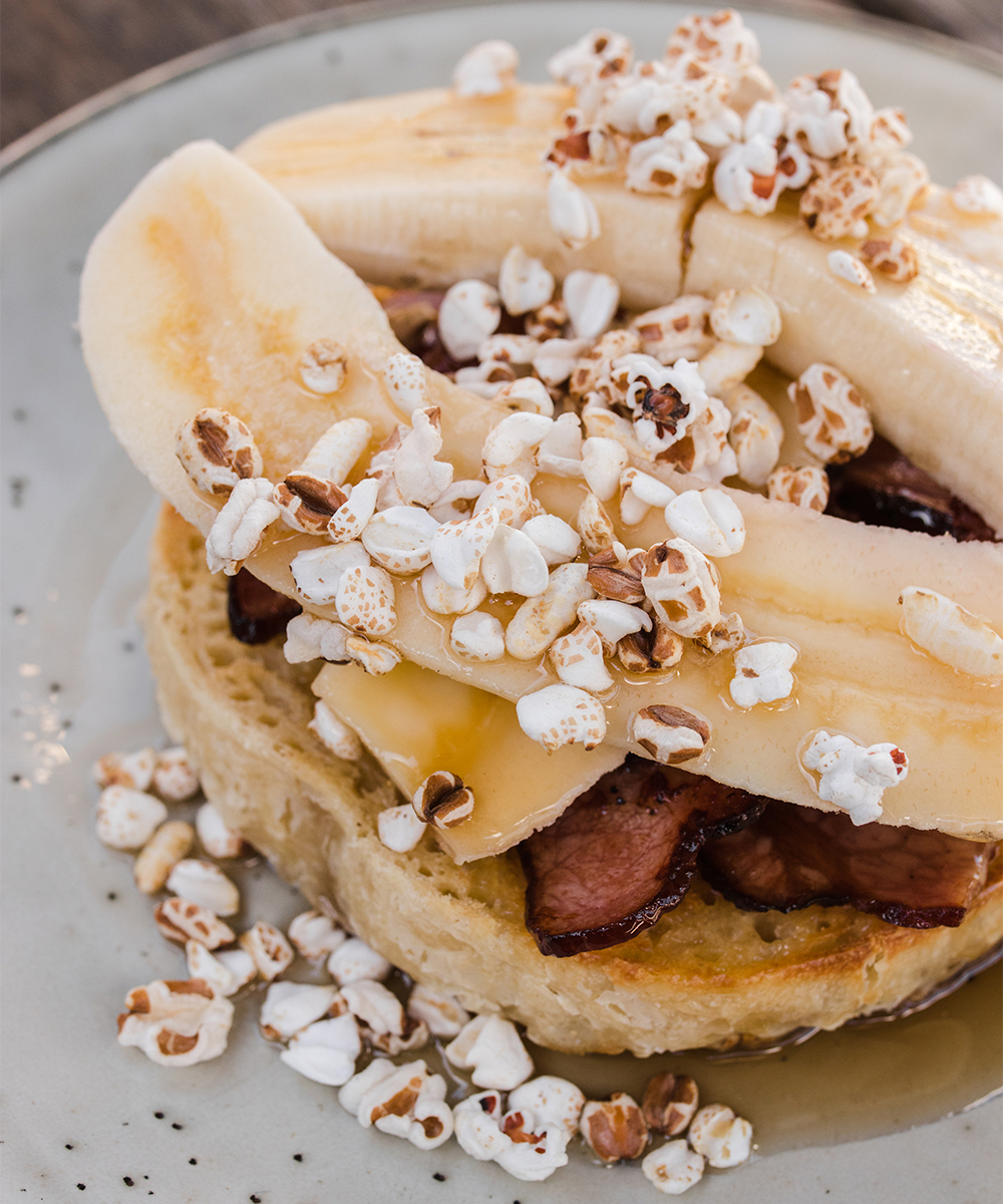 bananas and bacon on crumpets